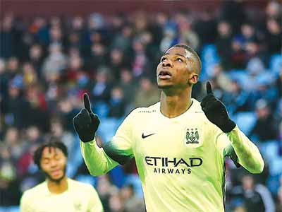 6323baec10e Manchester City s Nigerian striker Kelechi Iheanacho celebrates scoring his  team s third goal during the English FA