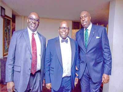 President, International Real Estate Federation (FIABCI) Nigeria, Mr. Joe Akhigbe, Managing Director, UPDC, Mr. Hakeem Ogunniran and President, FIABCI Africa region, Mr. Chudi Ubosi during the 2016 FIABCI inaugural dinner in Lagos.