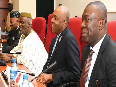 Senate President Bukola Saraki (2nd right), Deputy Senate President Ike Ekweremadu (right), Senate Chief Whip Olusola Adeyeye and Senate Minority Leader Godswill Akpabio during the inauguration of the Ad-hoc Committee on Constitution Review at the National Assembly Abuja…yesterday PHOTO: SENATE PRESIDENT's OFFICE