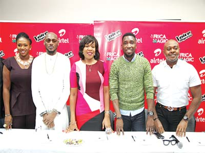 Waje (left)2Baba, Wangi Mba-Uzoukwu, Timi Dakolo and Emeka Oparah of Airtel at the unveiling of judges for The Voice Nigeria music reality show in Lagos.