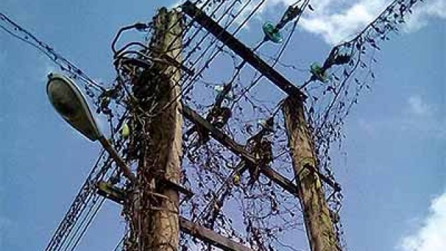 Electricity poles in the community
