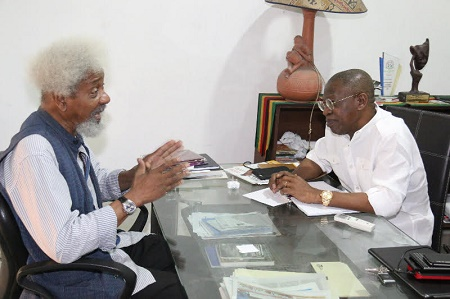 Minister of Information and Culture, Alhaji Lai Mohammed, Saturday paid a courtesy visit to Nobel Laureate Wole Soyinka at his Office at Freedom Park, Lagos.
