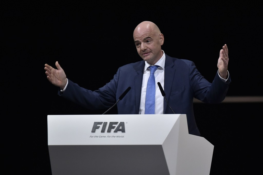 New FIFA president Gianni Infantino delivers a speech after winning the FIFA presidential election during the extraordinary FIFA Congress in Zurich on February 26, 2016. AFP PHOTO / FABRICE COFFRINI / AFP / FABRICE COFFRINI