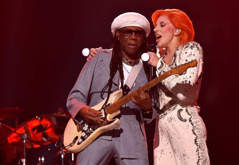 LOS ANGELES, CA - FEBRUARY 15: Musician/producer Nile Rodgers (L) and singer Lady Gaga perform a tribute to the late David Bowie onstage during The 58th GRAMMY Awards at Staples Center on February 15, 2016 in Los Angeles, California.   Larry Busacca/Getty Images for NARAS/AFP