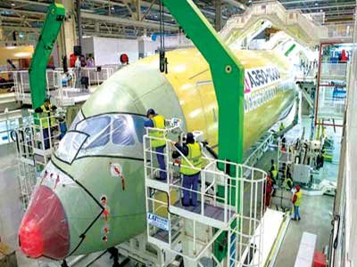The A350-1000 under construction