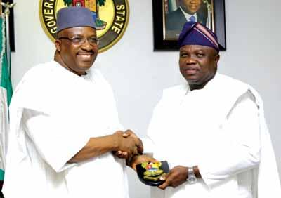 Ambode receiving Minister of Interior, Lt. Gen. Abdulrahman Dambazau (rtd.) at Lagos House Ikeja, February 10, 2016