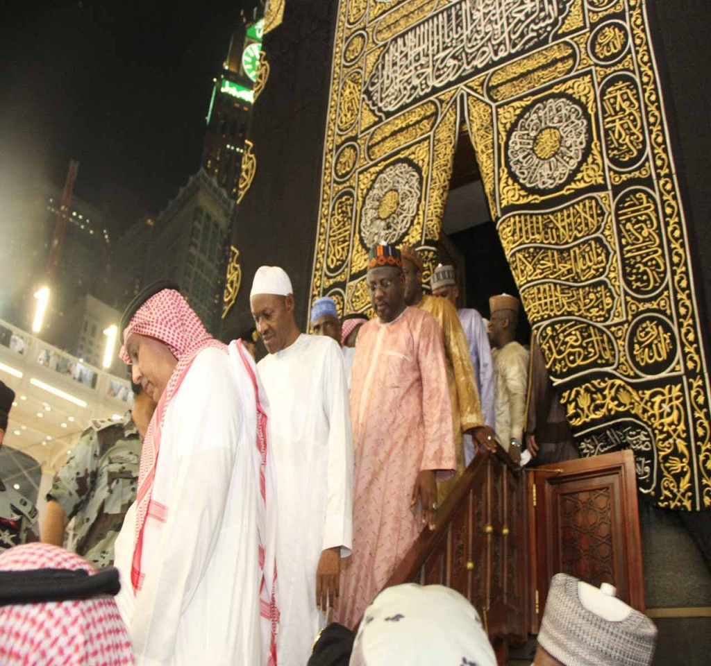 President Muhammadu Buhari coming out of the inner room of Holy Ka'abah in Makkah, Saudi Arabia