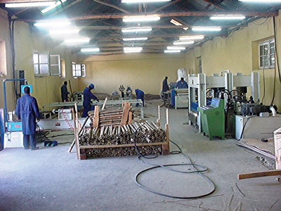 A bamboo processing floor