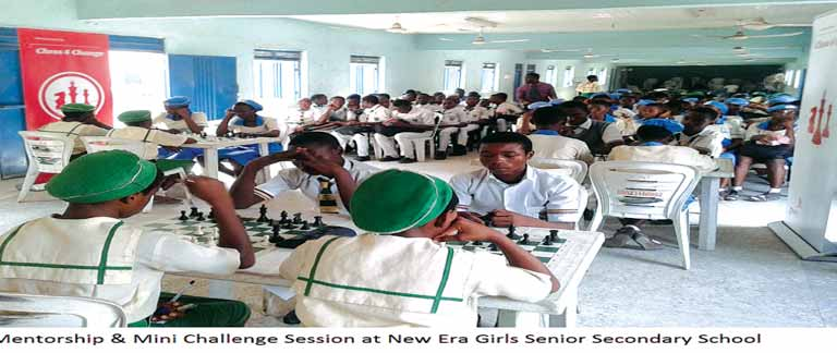 Students taking part in PwC Chess4Change mentorship and Mini-Challenge in Lagos