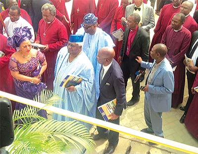 Mrs. Folorunsho Alakija (left); her husband, Modupe and others during the inauguration of an ultra-modern law faculty complex, which they donated to the Ajayi Crowther University, Oyo State