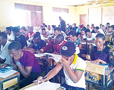 Private candidates writing the 2015 West African Senior School Certificate Examination