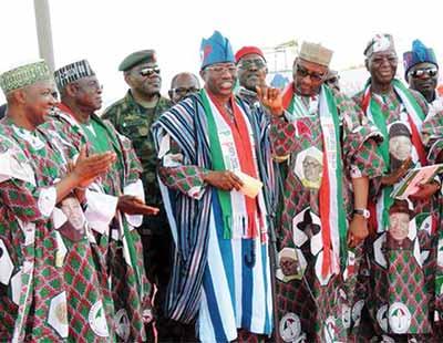 Former President Jonathan and PDP leaders