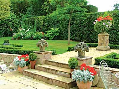 Modern garden design in formal style