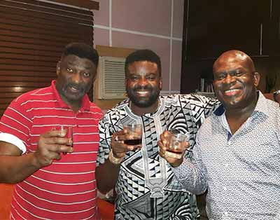 Kunle Afolayan (middle)  flanked by Lanre Balogun (left) and Tade Ogidan (right)