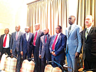 Head Corporate Communications, National Insurance Commission (NAICOM), Rasaaq Salami (left); Managing Director Consolidated Hallmark Insurance Plc, Eddie Efekoha; Group Managing Director Continental Reinsurance Plc, Dr. Femi Oyetunji; Managing Director FBNInsurance, Val Ojumah; Group Managing Director, NEM Insurance Plc, Tope Smart ; Managing Director, Leadway Assurance Limited, Oye Hassan-Odukale, Managing Director, Old Mutual, Keith Alford, during the industry committee meeting in Lagos
