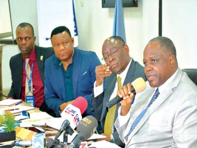 Director General Nigerian Civil Aviation Authority (NCAA) Muhtar Usman (right), Benedict Adeyileka of the NCAA, Nigerian representative at ICAO council Martins Nwafor, General Manager Public Relations, NCAA Sam Adurogboye at a press briefing in Lagos on the ill-fated Bristow chopper…recently