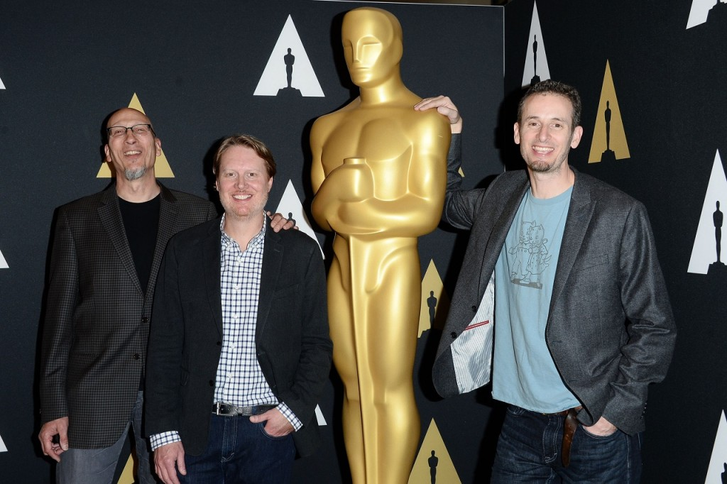 BEVERLY HILLS, CA - FEBRUARY 25: (L-R) Producer Roy Conli, and directors Don Hall and Chris Williams attend the 88th annual Academy Awards Oscar Week celebrates Animated Features at the Academy of Motion Picture Arts and Sciences on February 25, 2016 in Beverly Hills, California. Matt Winkelmeyer/Getty Images/AFP