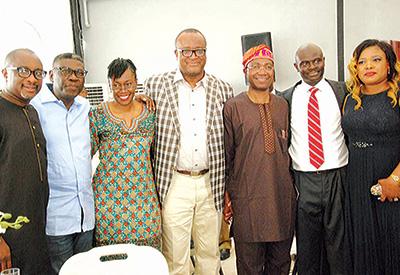 Adeniyi Adegbonmire (SAN), (left) Kemi Balogun (SAN), Funke Aboyade (SAN), President, Nigerian Bar Association (NBA), Augustine Alegeh (SAN), Chief Wole Olanipekun (SAN), the celebrant, Biodun Owonikoko (SAN), and wife, Oyinlayo at the official commissioning of the Juweirat Law Resource Centre in Lekki, Lagos…recently.