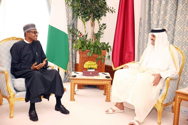 President Buhari meets with the Emir of the State of Qatar, Sheikh Tamim bin Hamad Al Thani in Doha on February 28, 2016