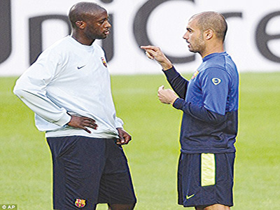Pep Guadiola and Yaya Toure during their time at the Nou Camp in October 2009. Photo: Dailymail.co.uk