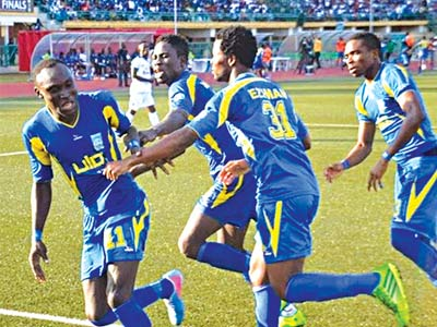 Warri Wolves jubilate after scoring a goal last season. The team is set for the 2016 CAF Champions League