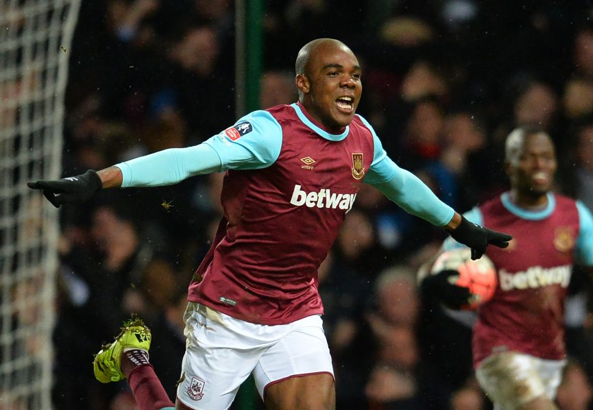 West Ham United's Italian defender Angelo Ogbonna celebrates after scoring the late winning goal in the English FA Cup fourth round replay football match between West Ham United and Liverpool at The Boleyn Ground in Upton Park, east London, on February 9, 2016. West Ham won the game 2-1 after extra time. / AFP / GLYN KIRK / RESTRICTED TO EDITORIAL USE. No use with unauthorized audio, video, data, fixture lists, club/league logos or 'live' services. Online in-match use limited to 75 images, no video emulation. No use in betting, games or single club/league/player publications. /