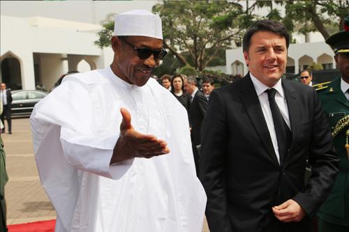 President Buhari with visiting Italian Prime Minister, Matteo Renzi