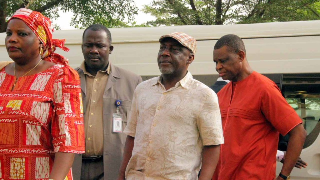 Former minister of interior, Abba Moro, Anastasia Daniel-Nwobia, former permanent secretary of the ministry of interior and deputy director in the ministry, F. O Alayebami, at the Federal High Court, Abuja over 2014 Immigration recruitment scam in Abuja on 29/02/16. PHOTO: Ladidi Lucy Elukpo.
