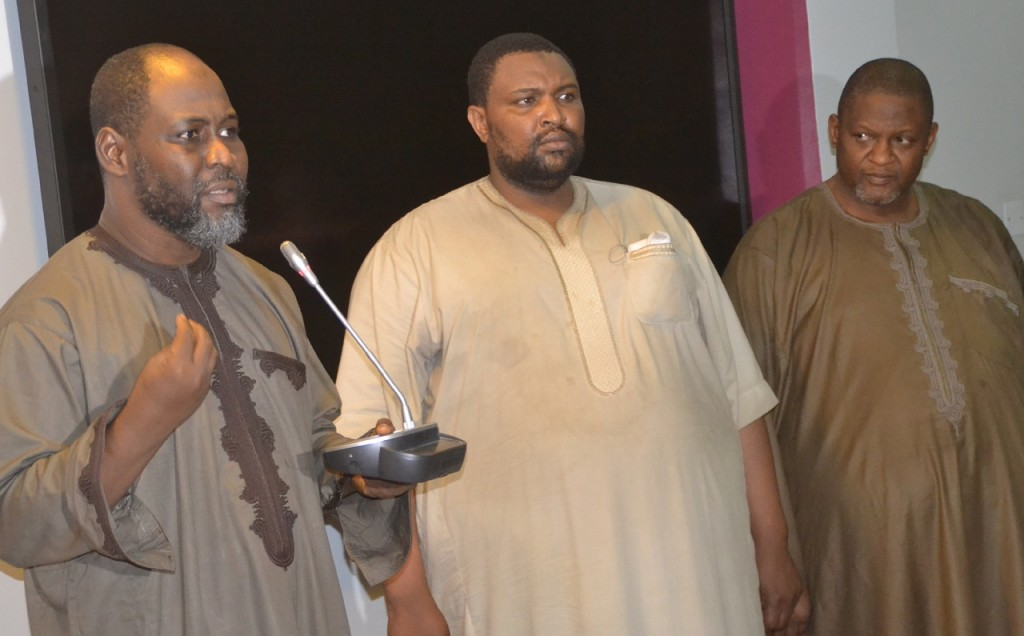 Mr Hussaini Monguno; Mr. Usman Danmallam and Mr. Nura Lawal suspected Blackmailers paraded by Department of State Security Service over the plan to blackmail the Director General of the services in Abuja on Friday Photo: Ladidi Lucy Elukpo