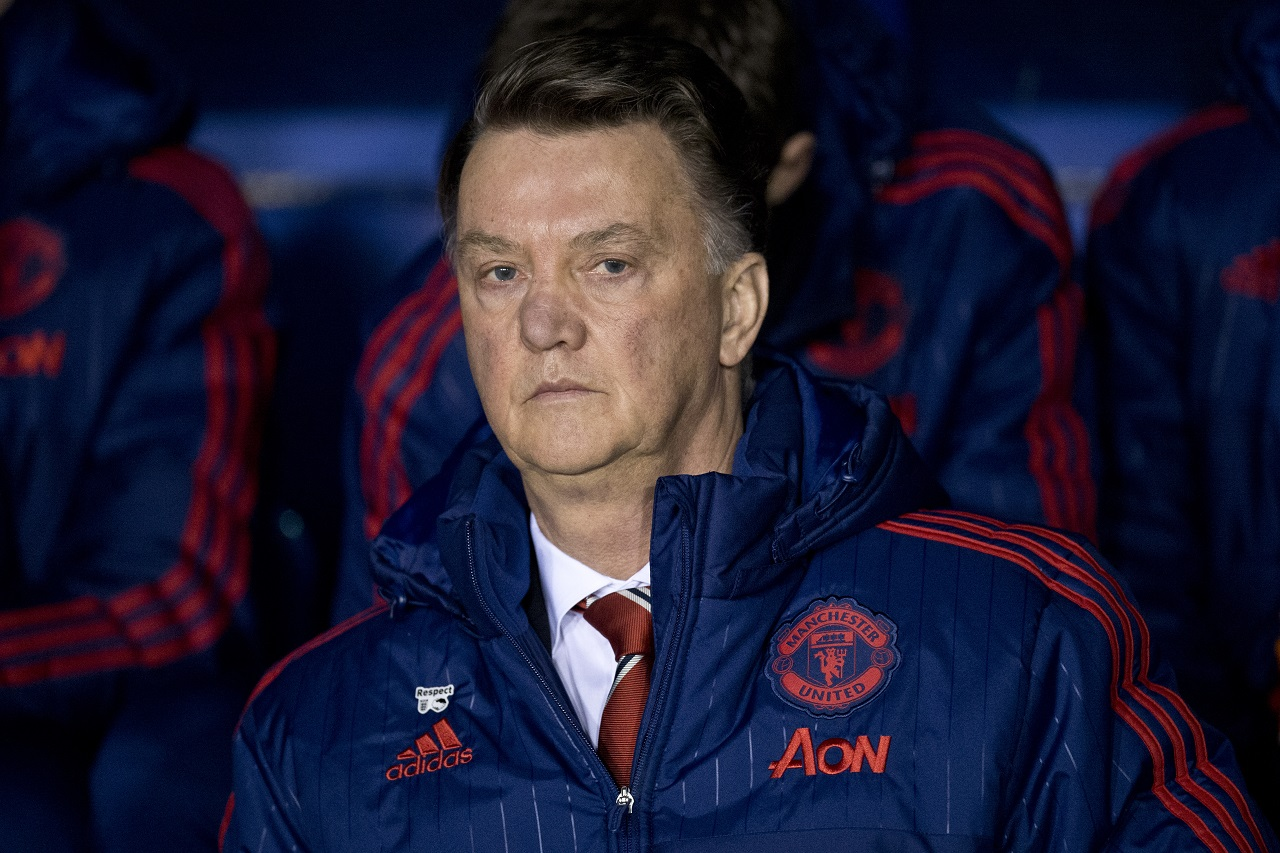 Manchester United's Dutch manager Louis van Gaal sits in the dug out ahead of the English FA Cup fifth round football match between Shrewsbury Town and Manchester United at the Greenhous Meadow stadium in Shrewsbury, western England on February 22, 2016. / AFP / OLI SCARFF / RESTRICTED TO EDITORIAL USE. No use with unauthorized audio, video, data, fixture lists, club/league logos or 'live' services. Online in-match use limited to 75 images, no video emulation. No use in betting, games or single club/league/player publications. /