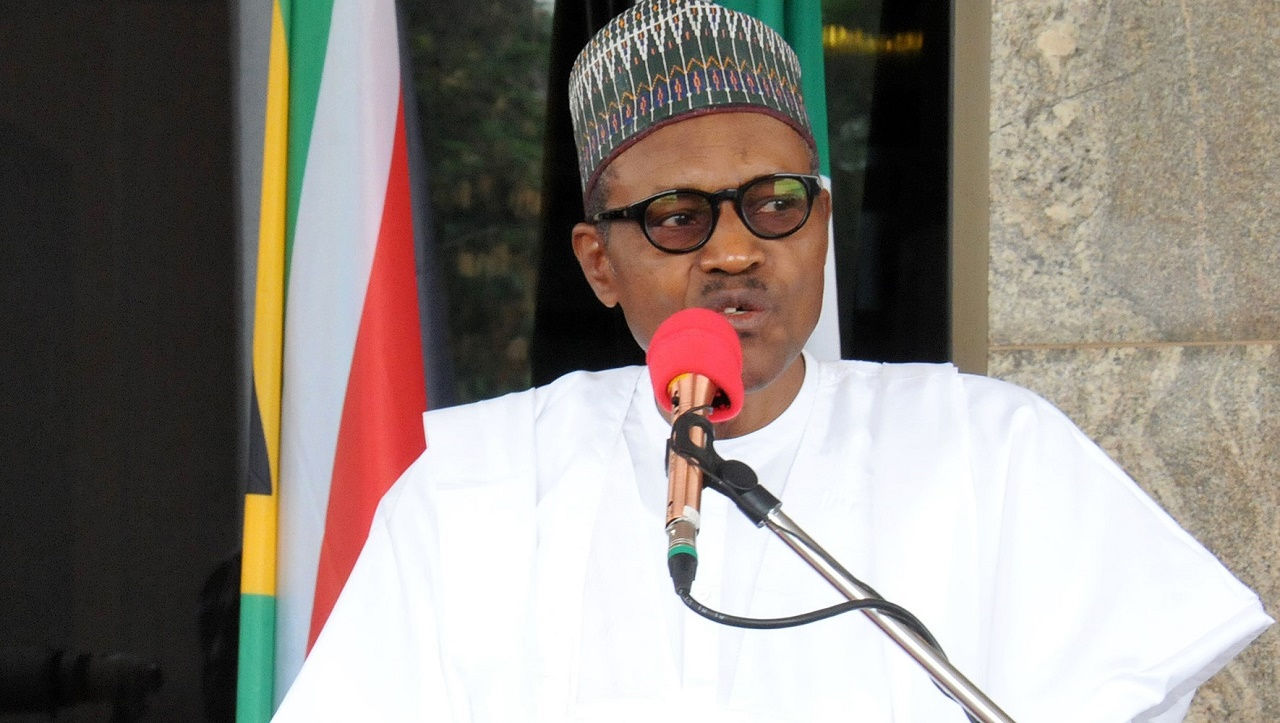 President Muhammadu Buhari speaking at an event at the Presidential Villa, Abuja. PHOTO: Philip Ojisua