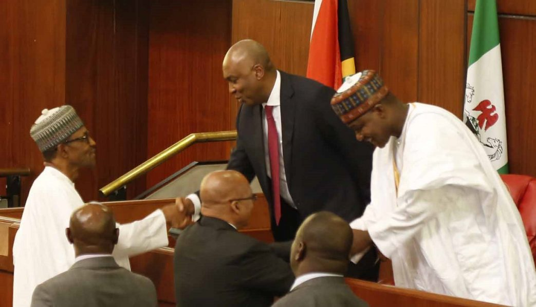 Senate President, Dr. Abubakar Bukola Saraki  and Speaker, House of Representatives, Hon. Yakubu Dogara welcoming President Muhammadu Buhari and his South African counterpart,  President  Jacob Zuma to a Joint Session of the National Assembly in Abuja yesterday.