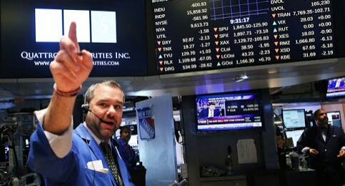 A trader on the floor of the New York Stock Exchange. PHOTO: AFP