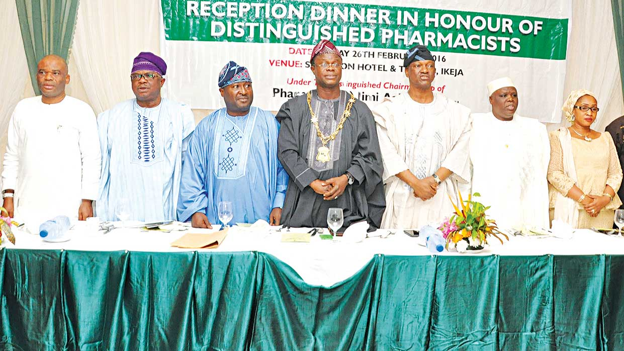 Registrar, PCN, Nuru Mohammed (left), Commissioner, Lagos State Hospital Services Commission, Otunba Sola Osikoya, Past Pesident, Pharmaceutical Society of Nigeria, Pharm Olumide Akintayo, Chairman, PSN, Lagos State Branch,Gbenga Olubowale, Chairman of the occasion, Jimi Agbaje, President, Pharmaceutical Society of Nigeria, Ahmed Yakassai, and Honourable Commissioner for Youth and Social Development Lagos State,Usamotu Akinbile-Yusuf during the reception party in honor of Akintayo and some distinguished pharmacists at the Shareton Hotel, Lagos.