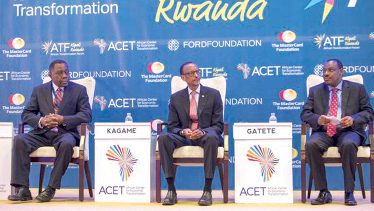 ACET President, Dr. Kingsley Amoako (left); Rwandan President, Mr. Paul Kagame and the Rwandan Finance Minister, Mr. Claver Gatete at the 2016 African Transformation Forum (ATF) held in Kigali, Rwanda last Monday and Tuesday.
