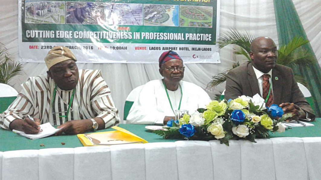 Prof. Tunde Agboola of University of Ibadan (left); President, Town Planners Registration Council of Nigeria(TOPREC), Prof. Layi Egunjobi; immediate past president, Association of Town Planning Consultants of Nigeria (ATOPCON), Moses Ogunleye during the Professional Development Workshop in Lagos