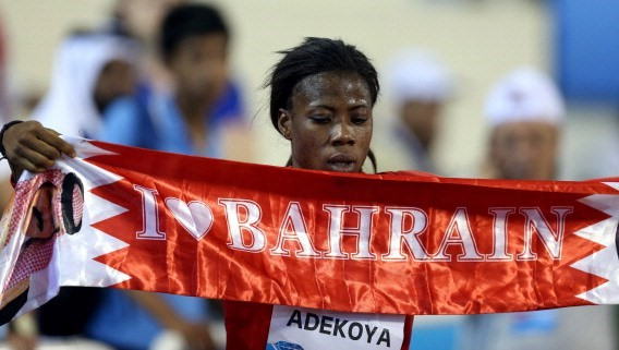 DOHA, QATAR - MAY 9: Kemi Adekoya of Bahrain celebrates victory of the 400m hurdles final at the IAAF Diamond League in Doha, Qatar on May 09, 2014. (Photo by Mohamed Farag/Anadolu Agency/Getty Images)