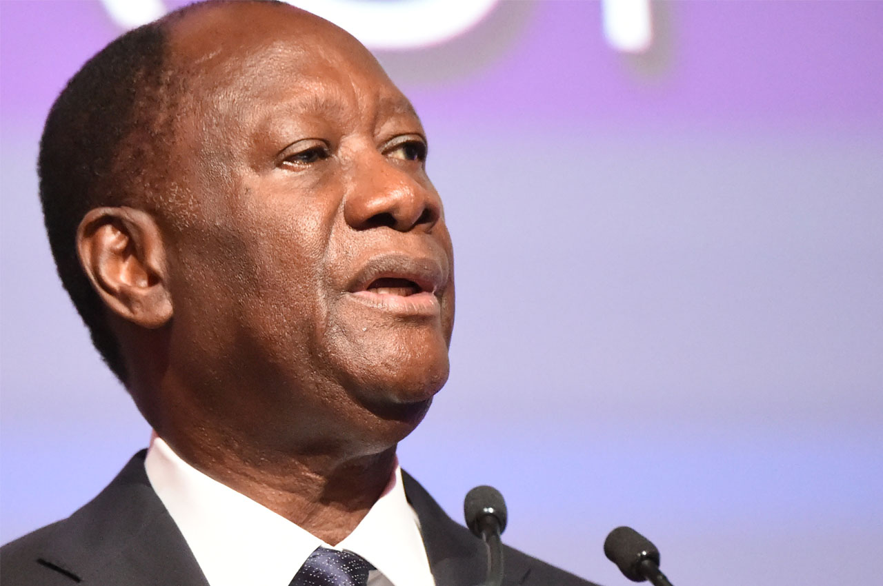 Ivorian president Alassane Ouattara delivers a speech, on March 21, 2016 in Abdijan, on the opening session of the Africa CEO forum, forum for African business leaders. / AFP / SIA KAMBOU
