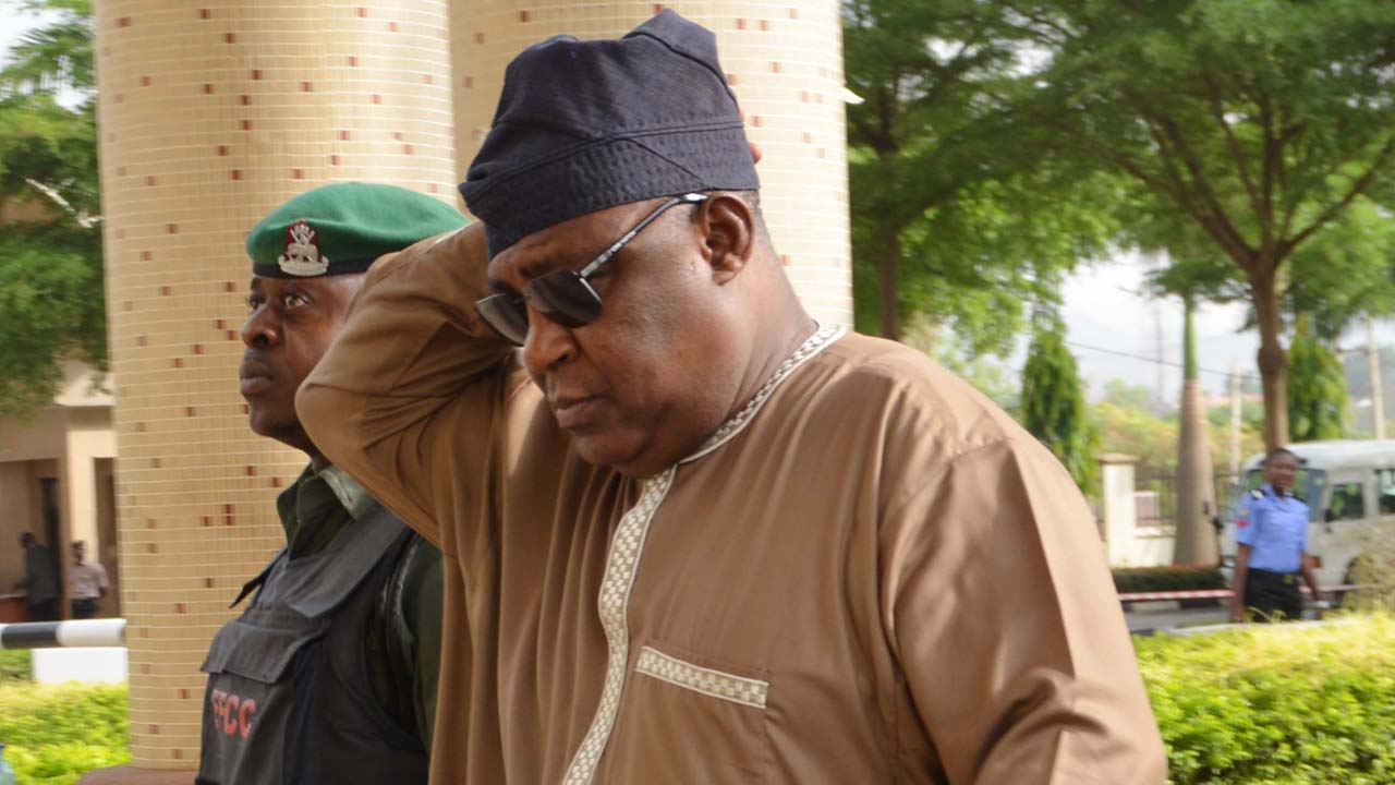 Former Chief of Defence Staff Alex Badeh in Court on Monday, March 7, 2016. Photo Ladidi Lucy Elukpo.