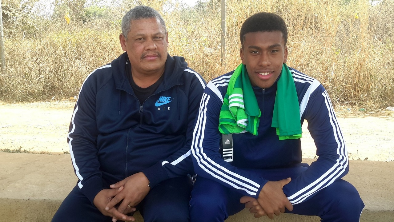 Alex Iwobi and father, Chuka Iwobi in Abuja in 2015. PHOTO: NFF