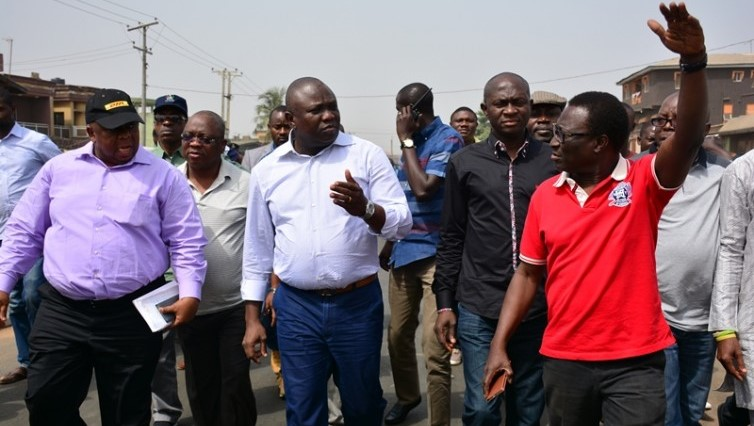 Governor Akinwunmi Ambode during an inspection of road construction PHOTO: LAGOS STATE