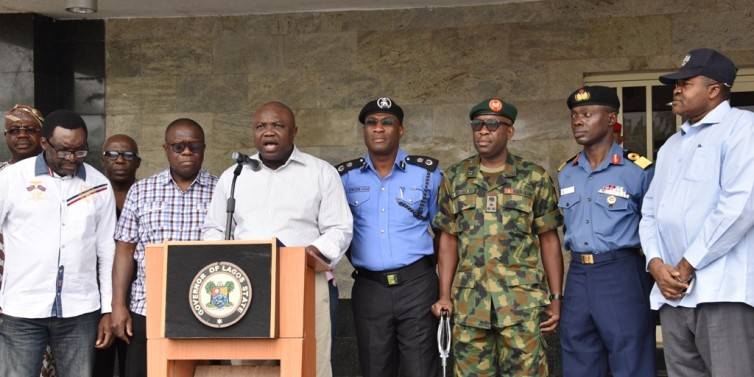 Lagos State Governor, Akinwunmi Ambode (3rd left), addressing newsmaen on the rescue of three female students of Babington Macaulay Junior Seminary, Ikorodu at the Lagos House, alausa, Ikeja on Sunday.