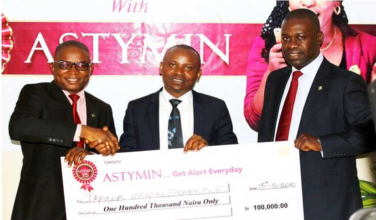 Mr Irabor Michael from Bariga, Lagos State has emerged the first Star-Prize winner in the Astymin Get Alert Promo for the month of February 2016.