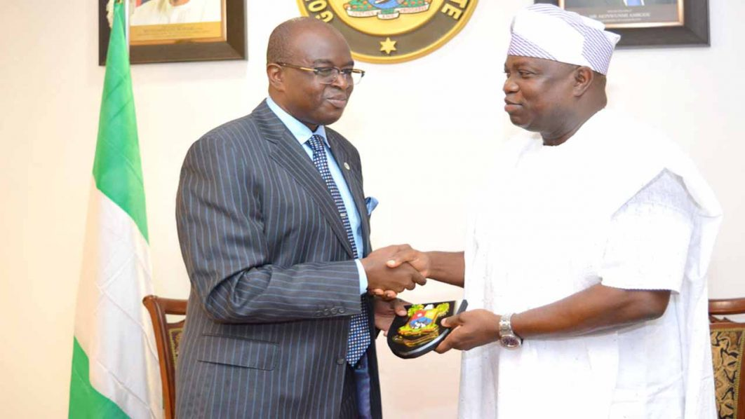 Director General, Nigerian Employers' Consultative Association, Segun Oshinowo (left); during a courtesy visit to the Lagos State Governor, Akinwunmi Ambode at the Governor's office, Alausa, Ikeja.