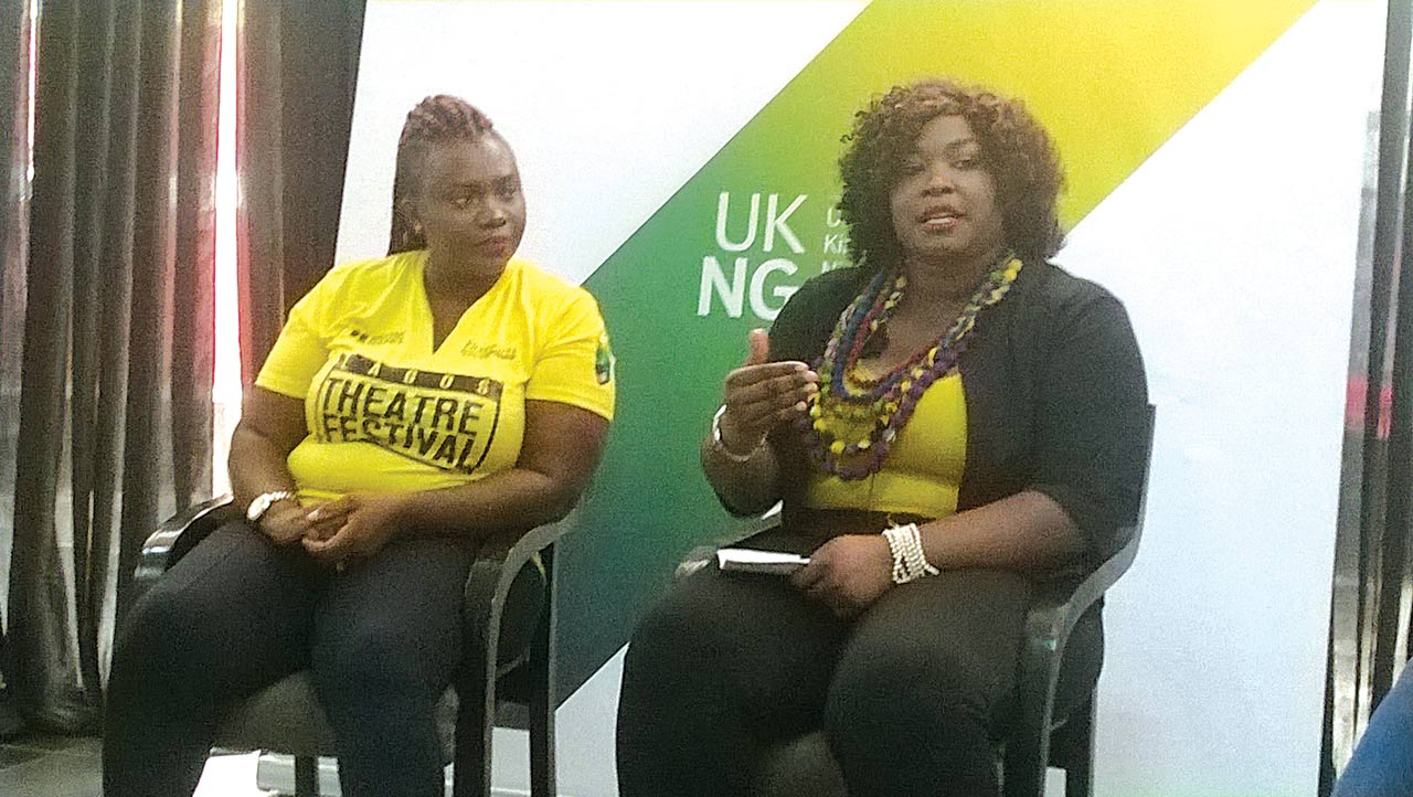 Brenda Uphopho (left) and Bikiya Graham-Douglas speaking recently at 'Women in the Arts' seminar during Lagos Theatre Festival at Freedom Park... in Lagos