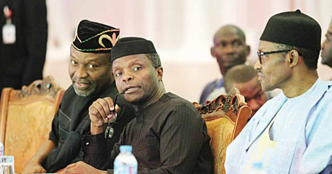 National Planning Minister Udoma Udo Udoma (left); Vice President Yemi Osinbajo and President Muhammadu Buhari at the first National Economic Council retreat for state governors at the State House, Abuja …yesterday                 PHOTO: PHILIP OJISUA