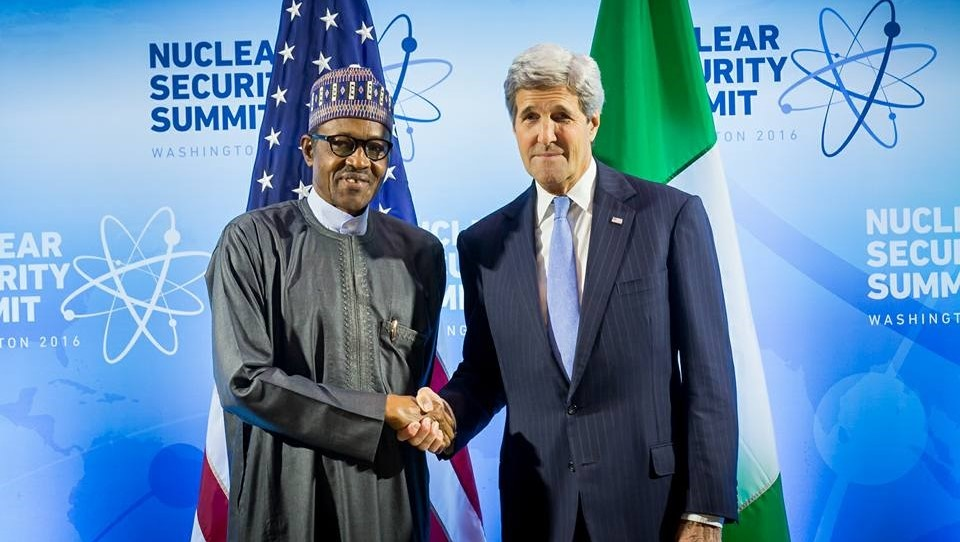 President Buhari held bilateral talks with the United States' Secretary of States, Senator John Kerry at the Walter on the Washington Convention Centre on the sidelines of the 4th Nuclear Security Summit
