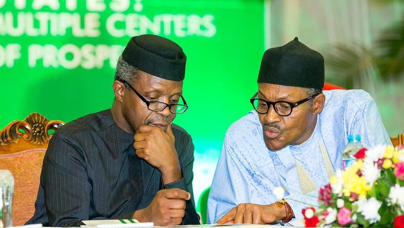 Vice President Yemi Osinbajo and President Muhammadu Buhari discussing at the opening of the National Economic Council Retreat on Monday, March 21, 2016. PHOTO: STATE HOUSE