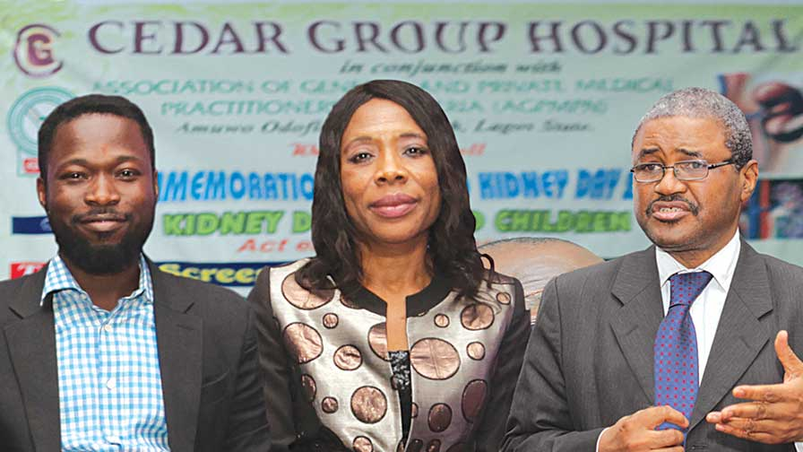 Director Cedar Group Hospital, Mrs. Ada Akpabio; flanked by Prof. Solomon Kadiri of University College Hospital (UCH) Ibadan (right); and Dr. Akinsiku Adedamola of Cedar Group, at the Kidney Lecture organized by the Cedar Group and Association of General and Private Medical Practitioners of Nigeria, Ojo Branch at FESTAC, Lagos