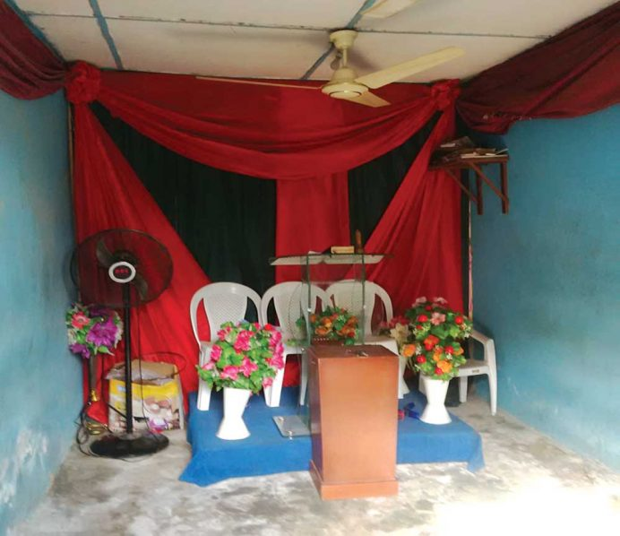 One of the sealed churches, Prayer Ministry, a single shop apartment at No. 4, Bayo Osinowo Street, Ogudu, Lagos